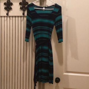 Navy and green stripped dress